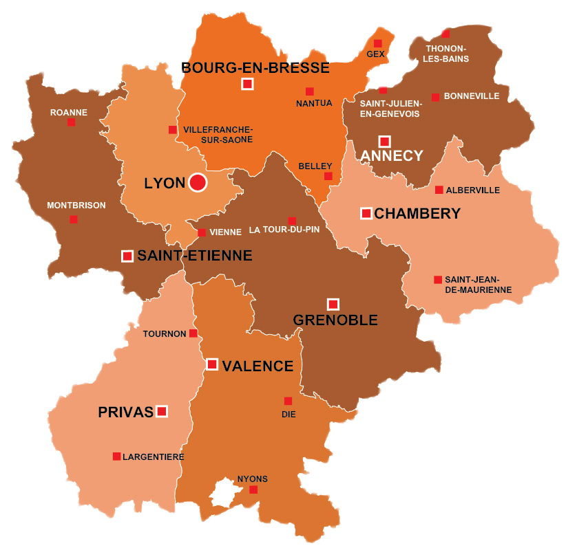 Carte Rhone Alpes